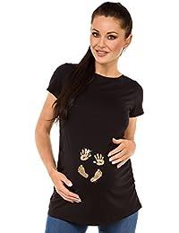 Zeta Ville - Camiseta Premamá T-shirt huella manos del bebé - para mujer - 013c