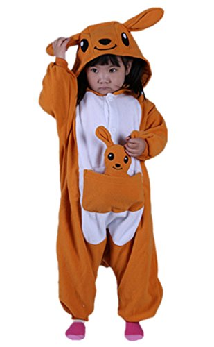 (DATO Kinder Tier Schlafanzug Känguru Cosplay Kostüm Sleepsuit Unisex Jumpsuit Pyjamas)