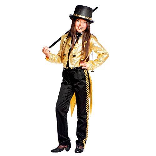 Krause & Sohn Kinderkostüm Broadway Girl Deluxe Mädchen Frack schwarz Gold Showgirl Unterhalterin Tänzerin Entertainer Fasching Karneval (122) (Disco Tänzer Kostüm Kinder)