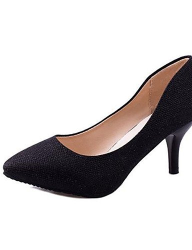 GS~LY Da donna-Tacchi-Casual-Tacchi-A stiletto-Felpato-Nero / Argento / Dorato golden-us7.5 / eu38 / uk5.5 / cn38