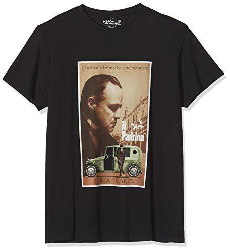 MERCHCODE Herren Godfather Poster T-Shirt, Black,