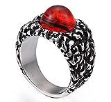Ueice Herren Gotisch Klassisch Rot Kostbar Stein Rostfreier Stahl Ringe,Größe 57 (18.1)