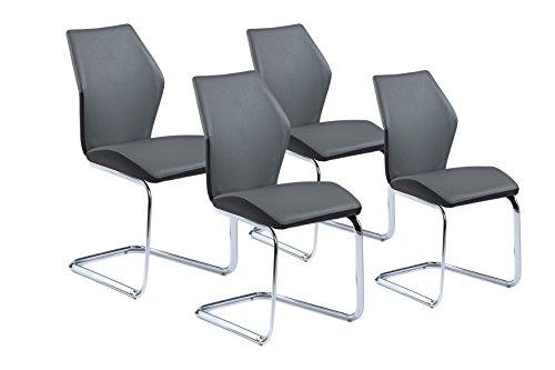 CAVADORE Schwingstuhl 4-er Set SNAP / 4x Freischwinger in modernem Design / Bezug in Grau -...