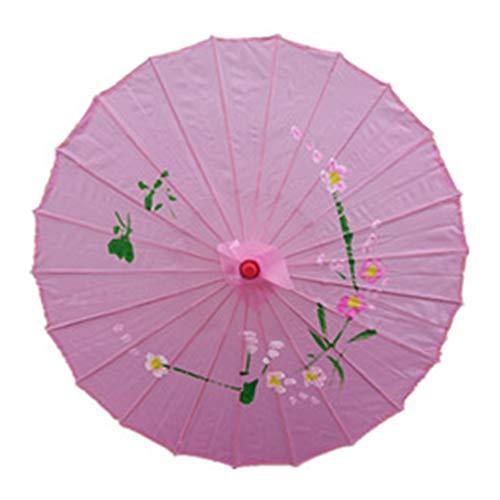 Öl-Papier-Sonnenschirm, chinesischer traditioneller handgefertigter Stockschirm - Kunst Farbe Öl Papier Regenschirm - für Hochzeiten, Partys, Kostüme, Cosplay-Dekoration Free Size rose