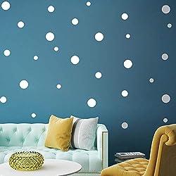 paletur88 20 Piezas Lunares Pegatina Extraíble Pared Adhesivo Pared Ecológico Círculo Und Adhesivos de Pared Artístico Diseño Papel Pintado Mural (Oro) - Blanco, Free Size
