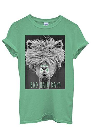 Bad Hair Day Llama Lama Funny Men Women Damen Herren Unisex Top T Shirt Grün