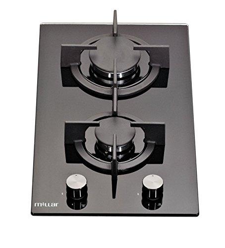 Amazon Millar. Millar GH3020PB Plaques de cuisson en Verre trempé avec 2  brûleurs à gaz ... 10ece9f01d7e