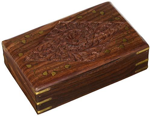 Indiabigshop scatola portagioie in legno, scatola vintage 8 * 5 con intarsi in intaglio, scatola portaoggetti, scatola portagioie ricordo, giorno di pasqua/festa della mamma/regalo del venerdì santo