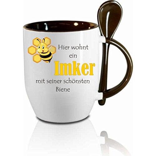 Tasse m. Löffel' Hier wohnt ein Imker mit seiner schönsten Biene ' Löffeltasse, Kaffeetasse mit...