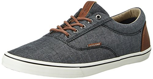 JACK & JONES Herren JFWVISION Chambray Mix Anthracite Low-Top Grau, 44 EU