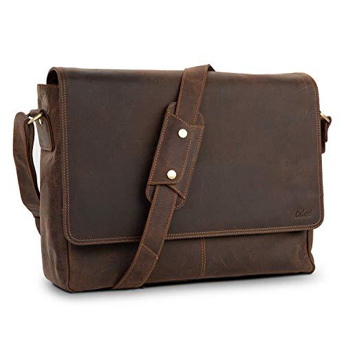 TALED® Premium Messenger Bag Herren braun - Laptoptasche Leder mit 15,6 Zoll - Inkl. kostenloses Schulterpolster - Hochwertige Ledertasche Herren im Vintage Look - Uni Tasche, Arbeit, Schule