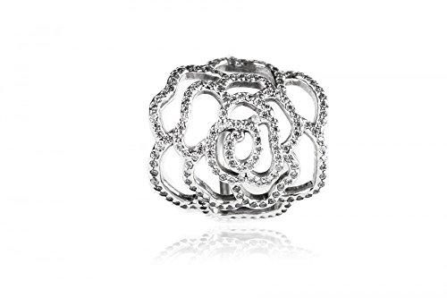 Pandora Damen-Ring Wildrose 925 Silber Zirkonia Weiß Gr. 56 (17.8) - 190950CZ-56