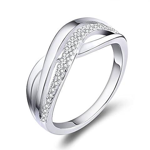 YL Femme Homme Argent 925 Cadeau d'amour Amour Infini Grosse Bague de Fiançailles Mariage Plaqué or Rhodié et Shining Zirconium Cubique Diamant Idée Cadeau