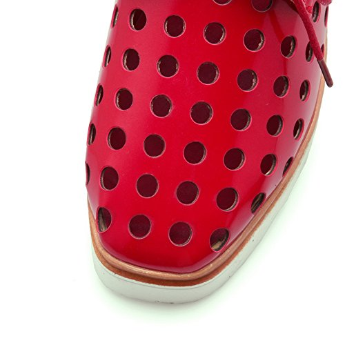 VogueZone009 Femme Lacet à Talon Correct Pu Cuir Carré Chaussures Légeres Rouge