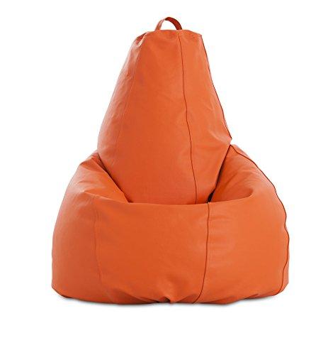 textil-home Pera-XL-Naranja Puf - Pera Moldeable XL, Tejido Polipiel,