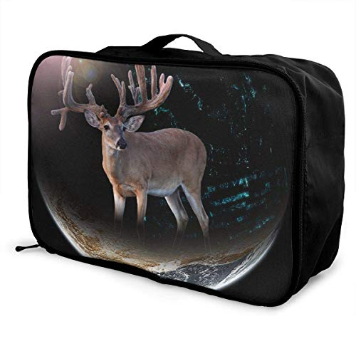 Portable Luggage Duffel Bag Moon Deer Travel Bags Carry-on In Trolley Handle