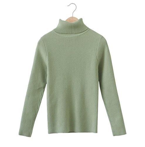 JOTHIN 2017 Donna Autunno Inverno Tinta Unita Dolcevita Sweatere Strette Elasticizzati Fasciante Maglioni Manica lunga Basic Maglioni. Verde