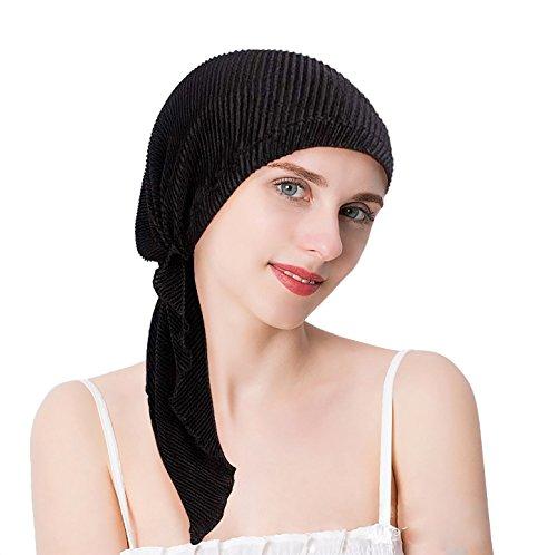 EINSKEY Kopftuch Damen Sommer Elegant Bandana Turban Schwarz Blau Grau für Chemo, Krebs, Haarausfall, Make up (Kopfbedeckung Volle)