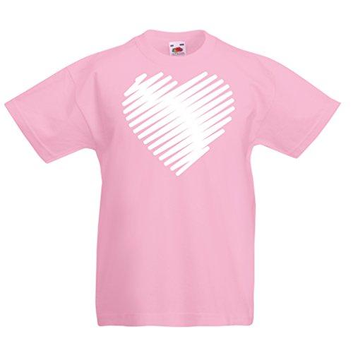 lepni.me Kinder Jungen/Mädchen T-Shirt Stilvolle Herzen, ich Liebe Dich Geschenke Valentinstag Outfits (1-2 Years Pink Weiß)