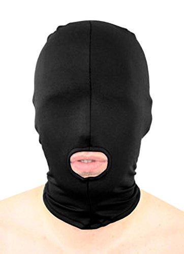 howriis Unisex Lycra Spandex öffnen den Mund Zentai Kapuze Maske Gr. Kinder, Schwarz