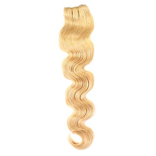 hair2heart 100g Echthaar-Tresse - gewellt - 60 cm - #27 dunkelgoldblond - Echthaar Nähen 100 Extensions