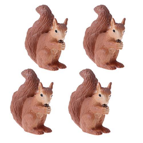 T TOOYFUL 1 Set Mini Eichhörnchen Tierfigur Wildtiere Spielfigur Tiere Spielzeug für Kinder Geburtstag Party Dekoration - 4pcs