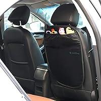 Parenthings - Kick Mats de coche Tapiz de bebés protector para la tapicería de los asientos del coche - Organizador integrado, fácil instalación con ganchos elásticos, negro