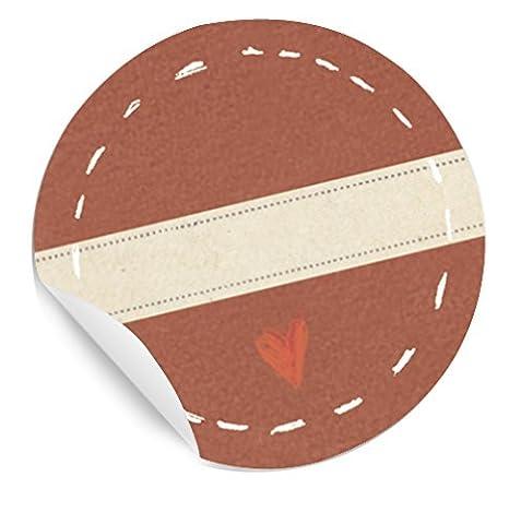Mit Herz! STICKER mit Herzchen im KREIS und Freitextfeld für Marmelade, Gewürze, Geschenke, Tischkarten, 24 schöne Etiketten, MATTE Papieraufkleber in ROT für Geschenke, Gastgeschenke und vieles mehr