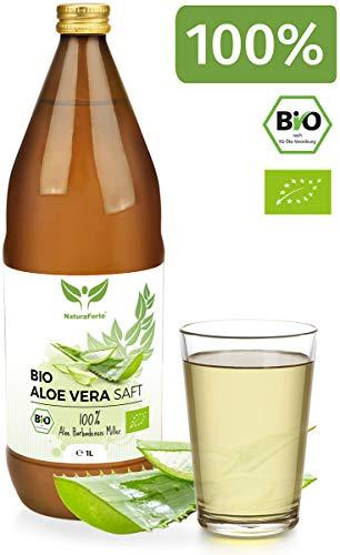 NaturaForte Bio Aloe Vera Saft 1L - Handfiletiert, Premium 100% Direktsaft, 1500mg pro Liter Aloverose, Frischpflanzen-Saft zum Trinken, Aloe barbadensis miller Pflanze aus biologischem Anbau
