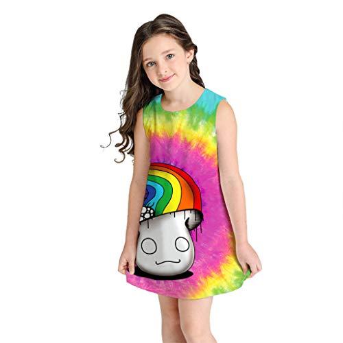(POPLY Kleid, Teen Kleinkind Kind Mädchen 3D Sternenhimmel Print Minikleid Bohemian Mode Ärmellos Oansatz Tops Kleidung)