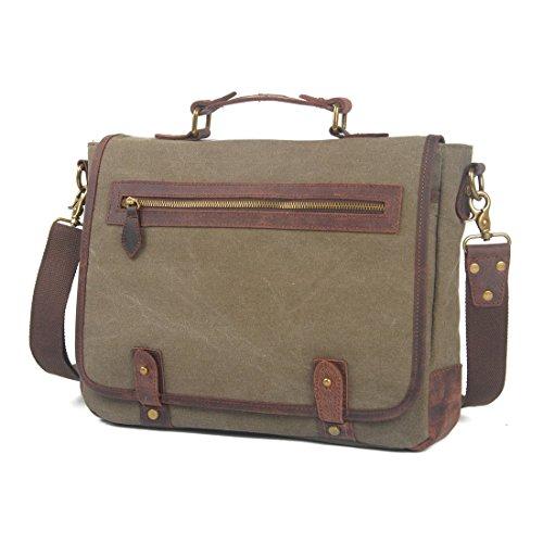 VRIKOO Unisex Vintage Canvas Genuine Leather Shoulder Messenger Bag Laptop Bag Briefcase Verde dell'esercito