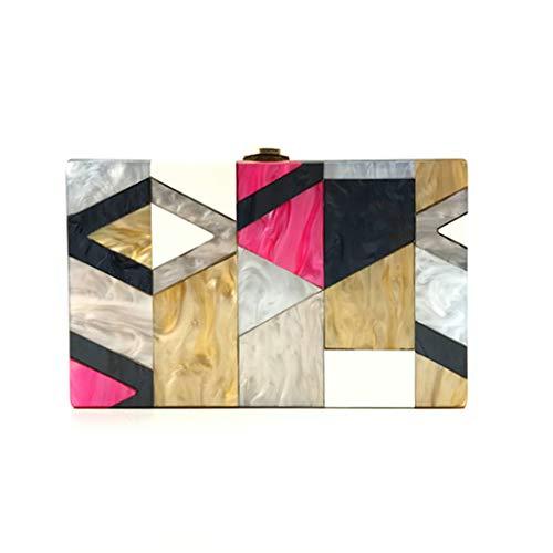 Mitlfuny handbemalte Ledertasche, Schultertasche, Geschenk, Handgefertigte Tasche,Frauen Abendtasche Geometrische Nähte Farbe Acryl Box Party Package