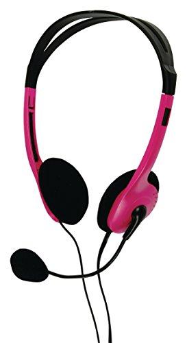 Eurosell - PC Computer Headset Kopfhörer Stereo Kopfbügel + Mikrofon flexibel + Lautstärkeregler 2 x 3,5mm Klinkenstecker Klinke pink rosa Girlie Laptop Notebook etc.