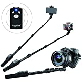 Fugetek Professional Selfie Stick Monopod With Removable Wireless Bluetooth Remote, Compatible With iPhone, Android, Black