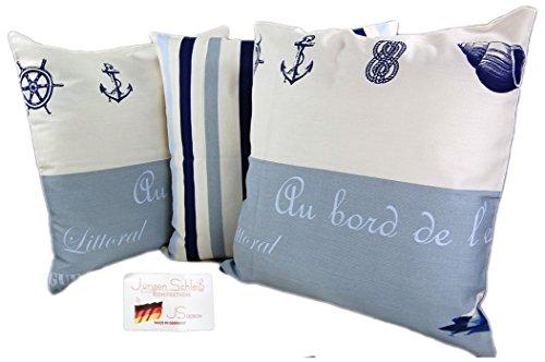 Möwe maritime Kissenhülle 50 x 50 cm 3er Set blau weiß Nautik Kissen Cushion Case J. Schleiß / Deutschland
