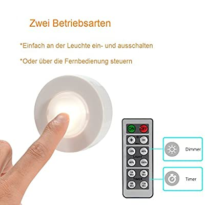 Schrankbeleuchtung LED batterie-betrieben Unterbauleuchte Schankleuchte Nachtlicht touch warmweiß mit Fernbedienung dimmbar für Garderobe, Küche, Vitrinenbeleuchtung mit Klebepads 6er SET von Lumilution