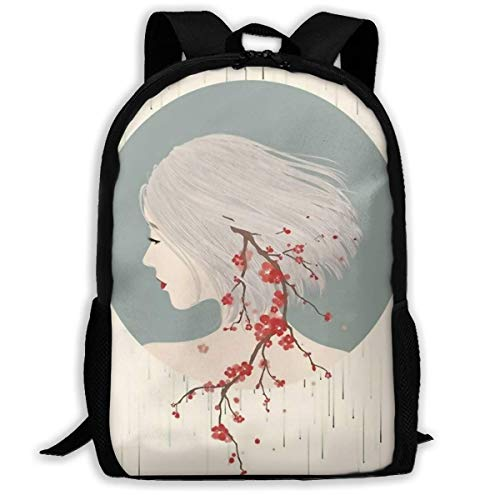 ADGBag Unisex Adult School Backpack Girl Hair Cherry Blossoms Bookbag Casual Travel Bag Shoulder Bag Book Scholl Travel Backpack Kinderrucksack Rucksack (Girl School Adult)
