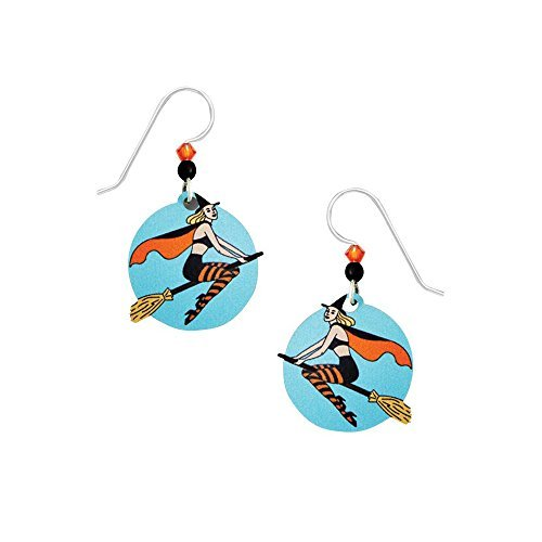USA Artisan Sienna Sky Vintage Witch on a Broomstick Earrings with Gift Box