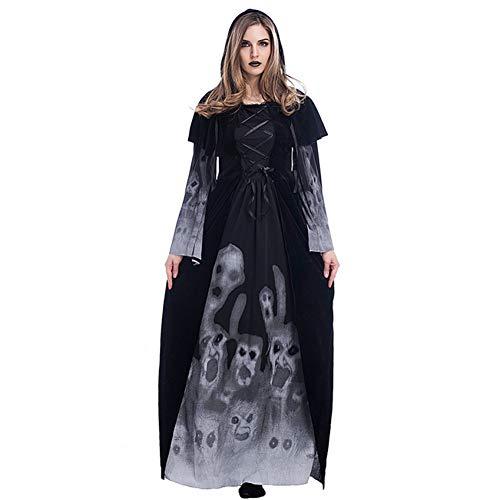 SHOPZZ Halloween Kostüm Halloween Kostüme Für Frauen Adult Witch GhostPrint Skeleton Dress, - Ghost Piraten Adult Kostüm