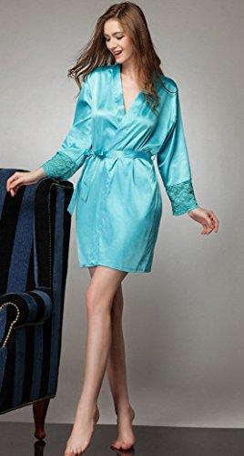 Aivtalk Pyjama Kimono Femme Peignoir Robe de Chambre Bain Dentelle Satin Lingerie Elégant Nuisette Vêtement de nuit Sexy en Soie Imitant Taille Unique 36-44 Noir Bleu Rose Rouge Nude Bleu