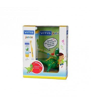 Vitis - Gel 75 ml + Cepillo + Vitisaurus | 6a+ | 1450 ppm F- | Xylitol y B5 | Tutti frutti