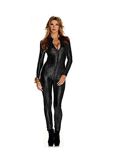 Frauen Shiny Catsuit Snakeskin Muster Unitard Kunstleder -Overall-Cosplay-Dame-Mädchen-Abendkleid Overall Sexy Party Clubwear (M, Silver)