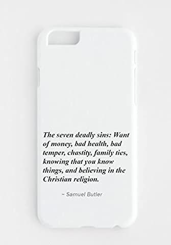 iPhone cover with The seven deadly sins: Want of money, bad health, bad temper, chastity, family ties, knowing that you know things, and believing in the Christian religion.