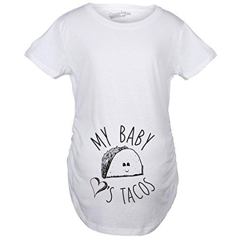 3902361c7d5c8 Crazy Dog Tshirts - Maternity My Baby Loves Tacos Funny T Shirts Cute  Announce Pregnancy Im Pregnant Bump T Shirt (White) -XXL - Camiseta De  Maternidad