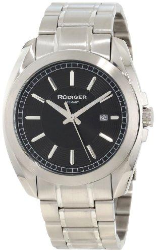 Rudiger Men's R1001-04-007 Dresden Solid Stainless Steel Black Dial Date Watch