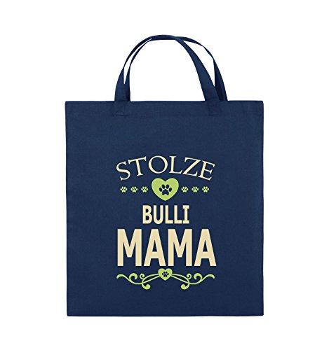 Comedy Bags - Stolze Bulli Mama - HERZ - Jutebeutel - kurze Henkel - 38x42cm - Farbe: Schwarz / Weiss-Neongrün Navy / Beige-Hellgrün