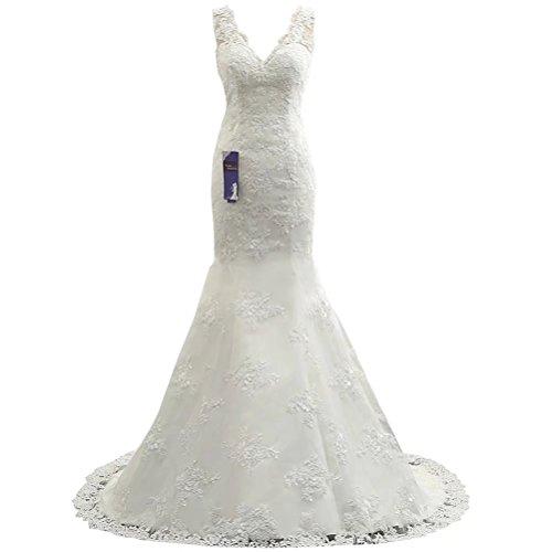 Brautkleider Hochzeitskleider Meerjungfrau Prinzessin Spitze Brautkleid mit Perlen Sweep Train Elegantes Brautkleid NaXY Brautkleid Ivory Size 48 (Sweep Prinzessin)