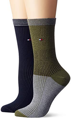 Tommy Hilfiger Damen Socken TH Women Lurex Blocking 2P, 2er Pack, Mehrfarbig (Medium Green 357), 39/42
