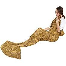 Chicas De Punto Tejer Sirena Con la Escala de Pescado Calentar Cobija Bolsa de Dormir Sofá