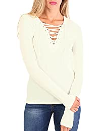 PILOT® Women's Plain Fine Rib Long Sleeve Lace Up Front Top in Cream